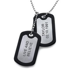 Collar de Placas Militares de Acero Inoxidable con Etiquetas foto de producto
