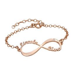 Pulsera Infinito con nombre y diamante chapada en oro rosa foto de producto