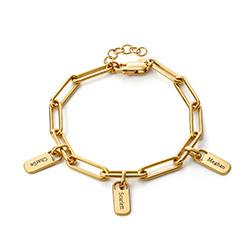 Pulsera de eslabones de cadena con encantos personalizados en oro 18k foto de producto