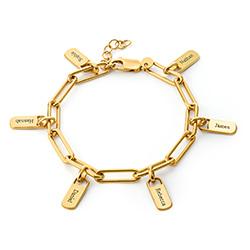Pulsera de eslabón de cadena con encantos personalizados chapada de foto de producto