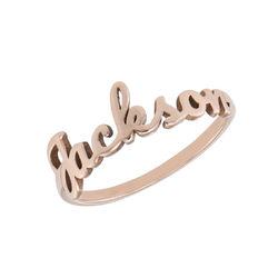 Anillo con nombre en cursiva chapado en oro rosa foto de producto