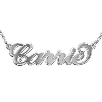 """Dubbel Dikke Zilveren """"Carrie"""" stijl Naamketting"""