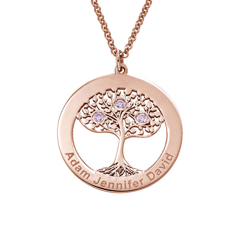 Rosé-vergulde ronde levensboom ketting met geboortestenen - 1
