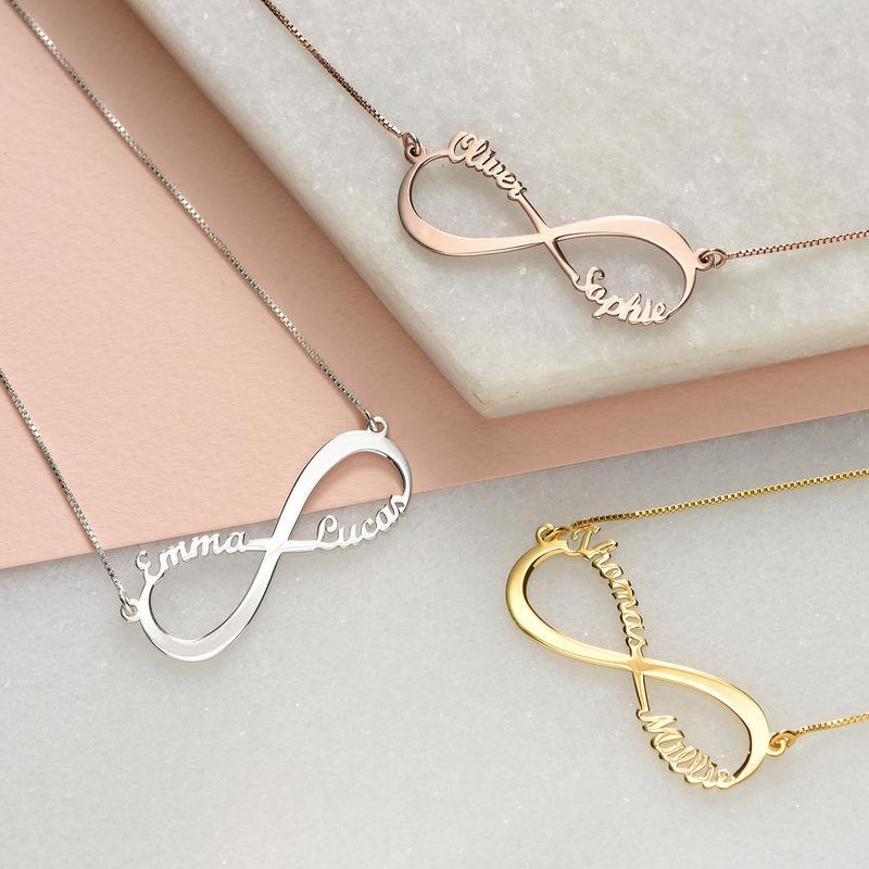 Infinity Twee Namen Ketting in Rosé-Goudkleur - 2