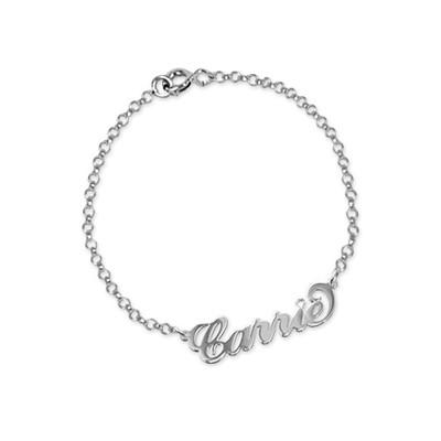 """925 Zilveren """"Carrie"""" Stijl Naam Armband / Enkelband met Kristal - 1"""