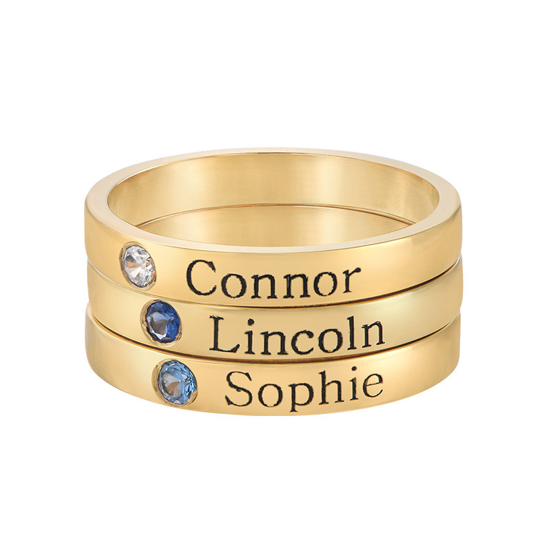 Naam ring met één steen - 18k geelgoud verguld - 2