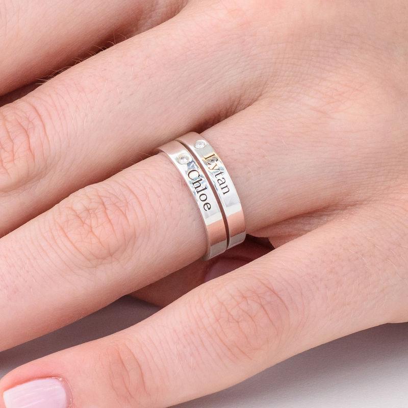 Zilveren stapelring met naam en diamant - 3