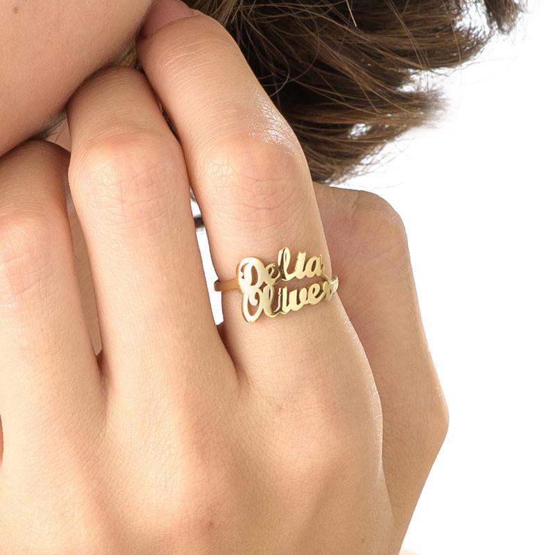 Vergulde Naam Ring met Twee Namen - 4