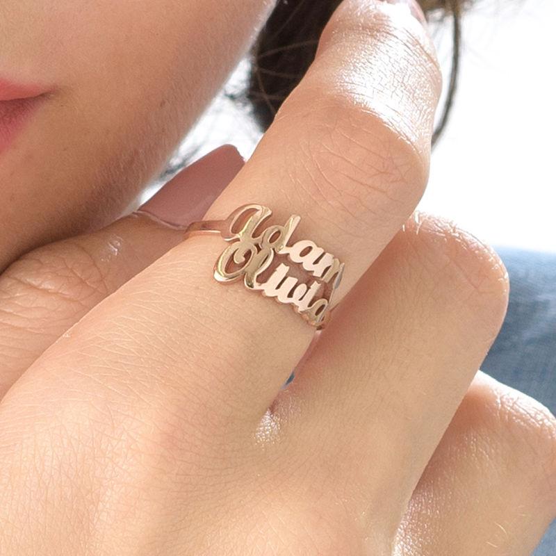 Rosé-vergulde Naam Ring met Twee Namen - 4