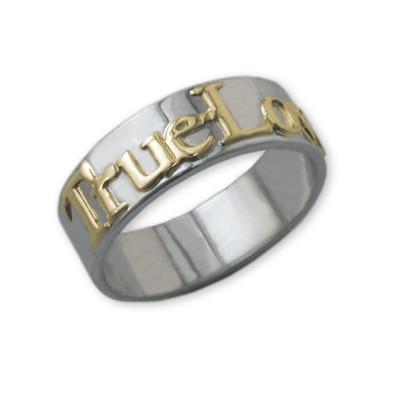 14k Gouden Text op 925 Zilveren Belofte Ring