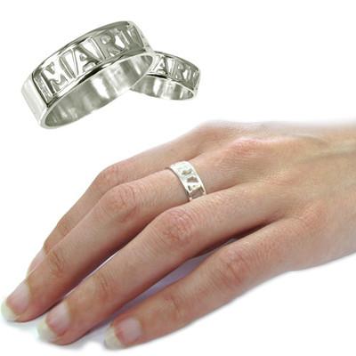 Gegraveerde Holle Naam Ring in 925 Zilver - 1