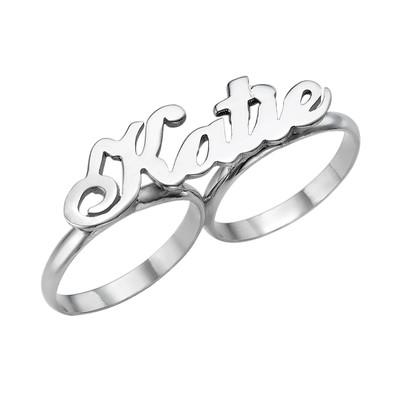 Twee Vingers Naam Ring in 925 Zilver