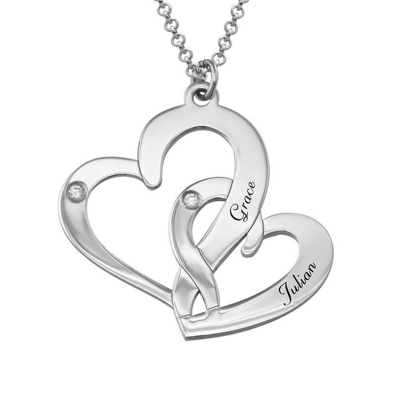 Sterling Zilveren ketting met Twee Gegraveerde Hartjes en Diamanten