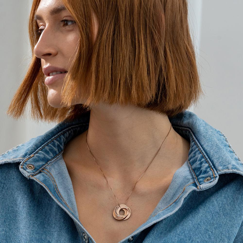 Russische Ring Ketting - Rosé-verguld met diamanten - 1