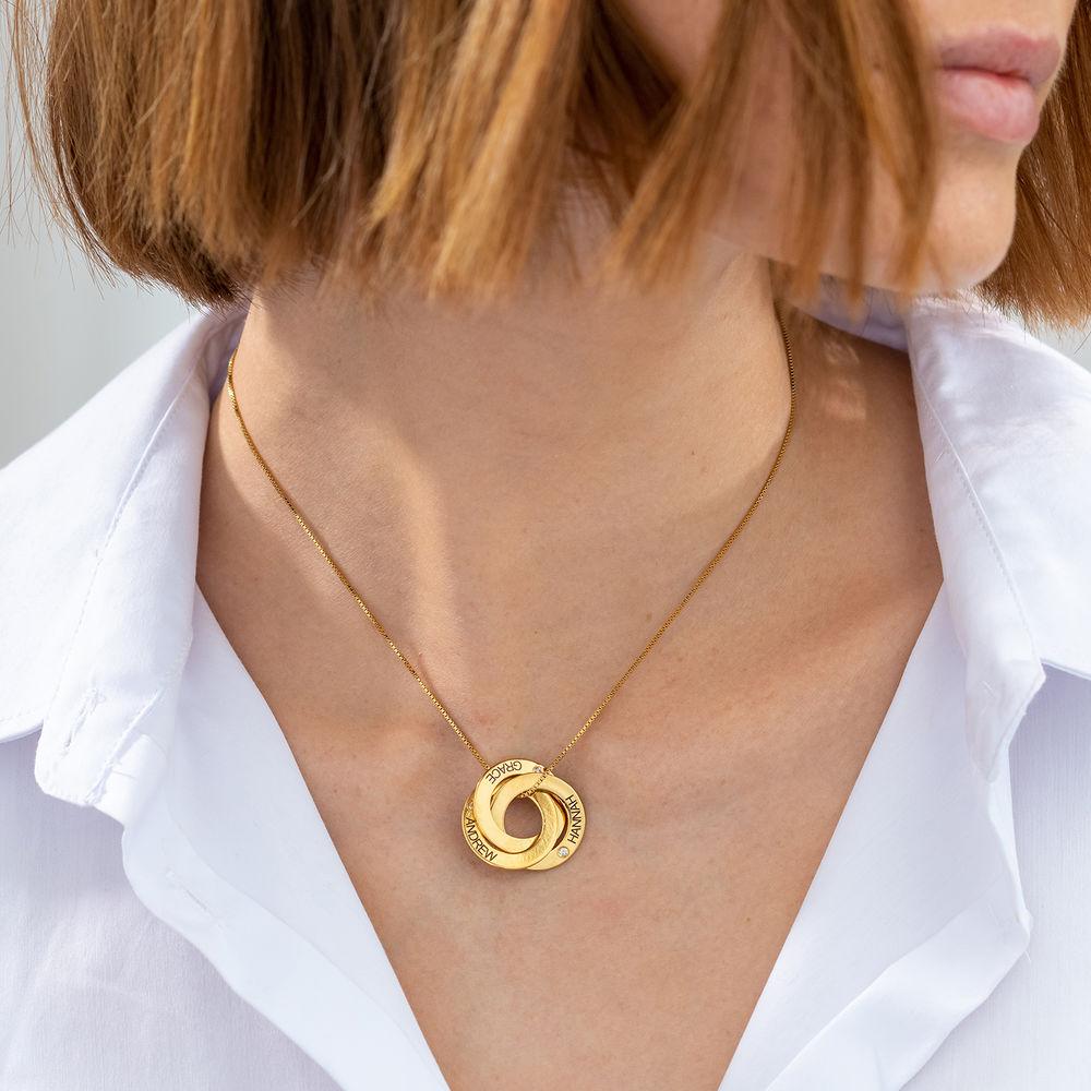Russische Ring Ketting - Goud Verguld Vermeil met diamanten - 2