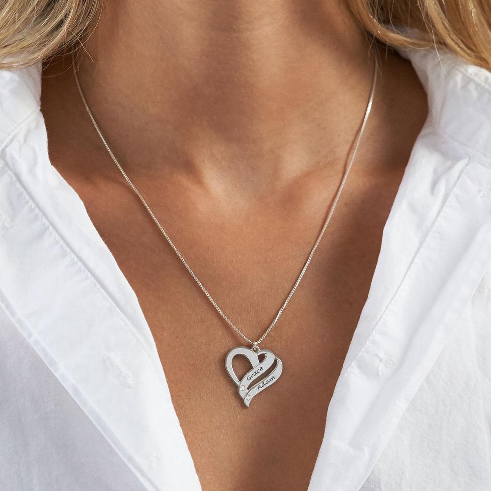 Twee Harten Voor Altijd Eén Sterling Zilver Diamanten Ketting - 2