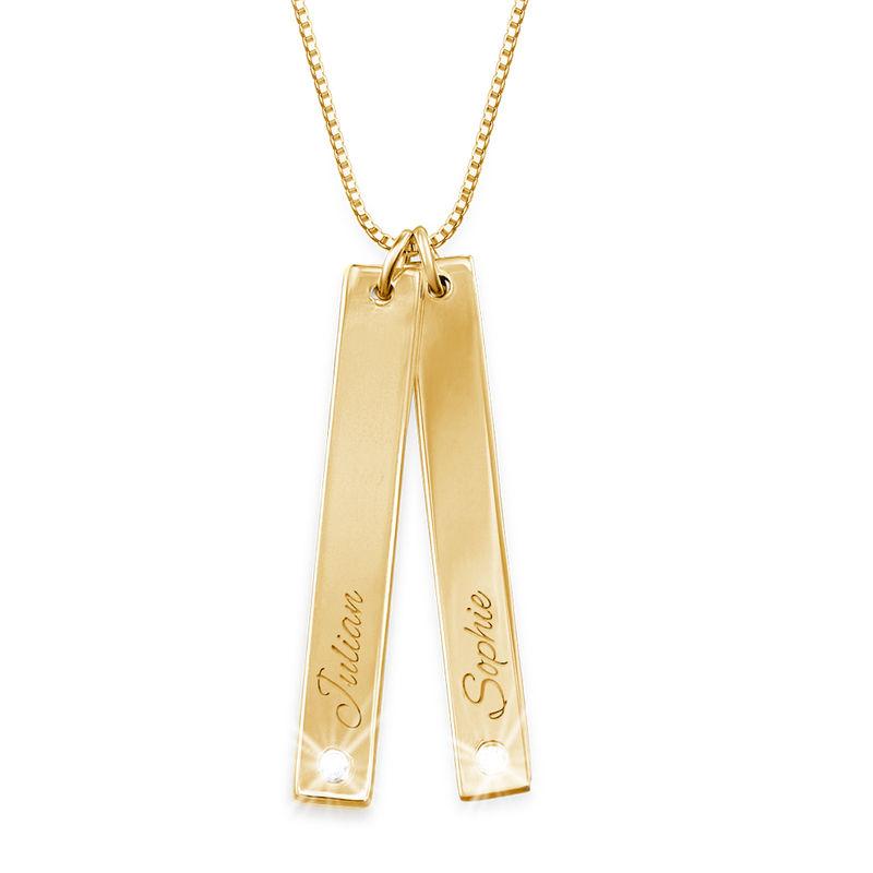 Verticale Bar ketting met diamant in Goud Vermeil