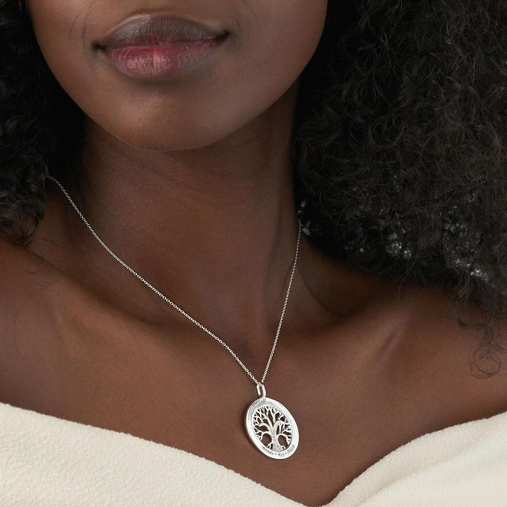 Hangertje met diamanten in sterling zilveren ronde levensboom - 3