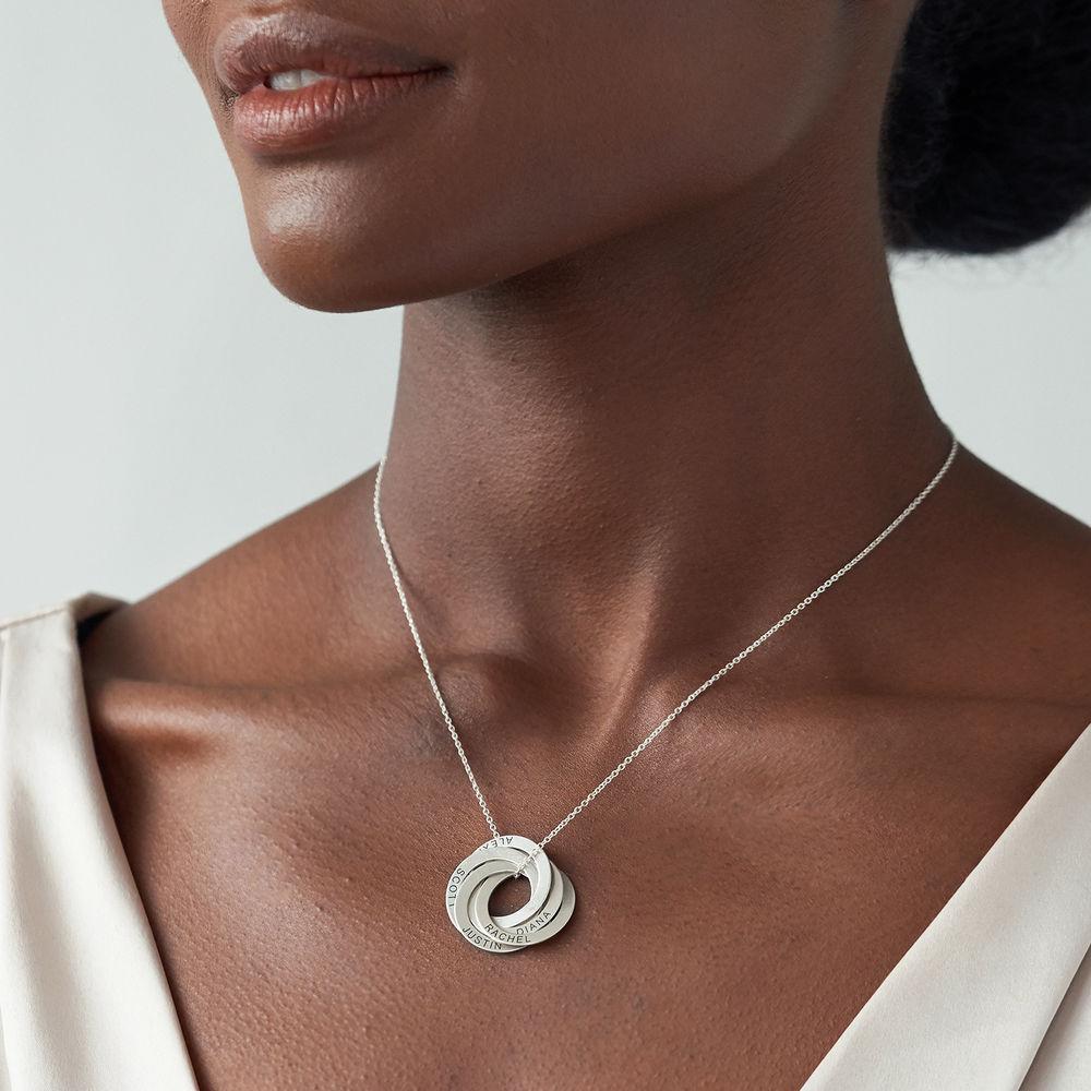 Sterling zilveren ketting met 5 Russische ringen - 2