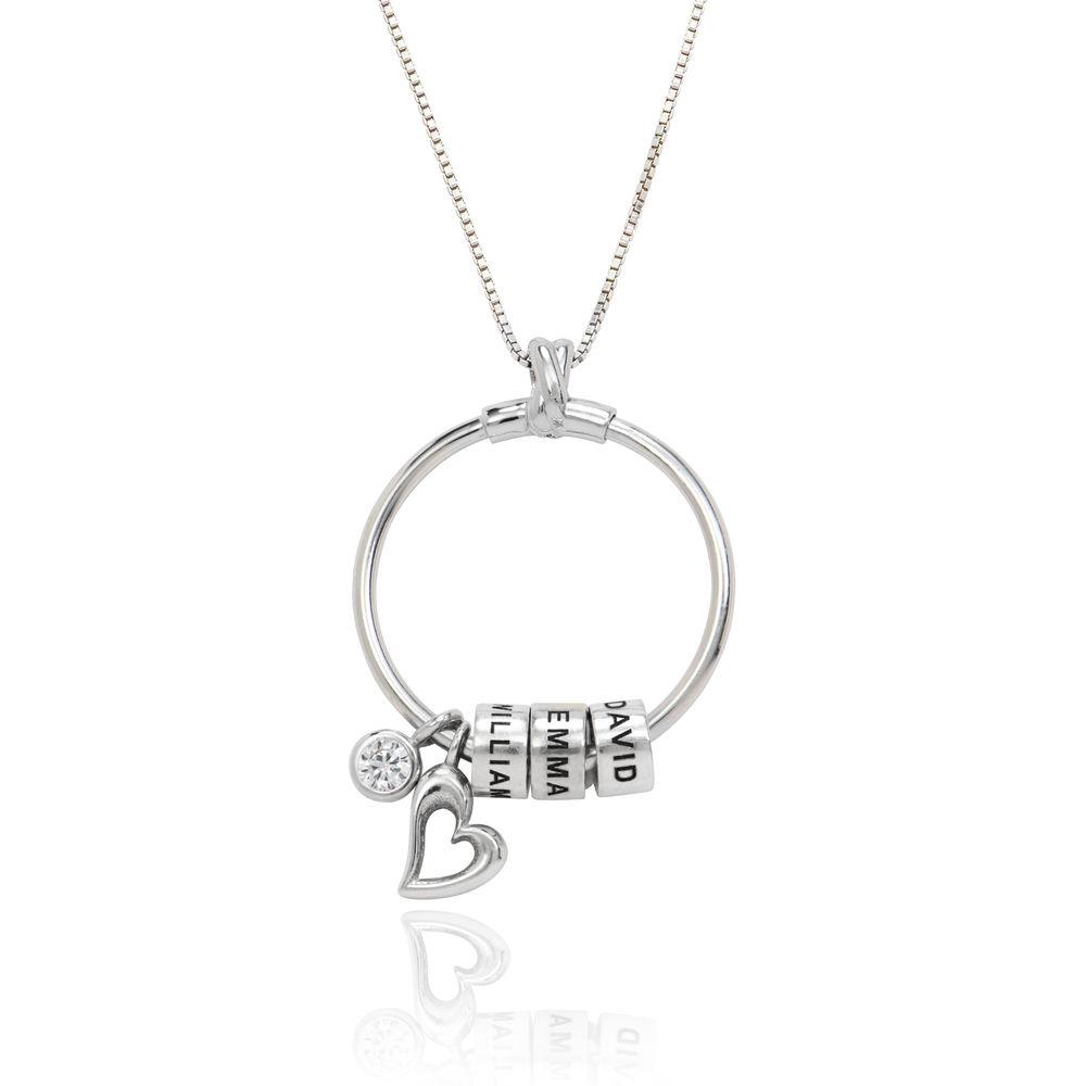 Gegraveerde Cirkel Hanger Linda ™ Ketting met blad en persoonlijke kralen in Sterling Zilver