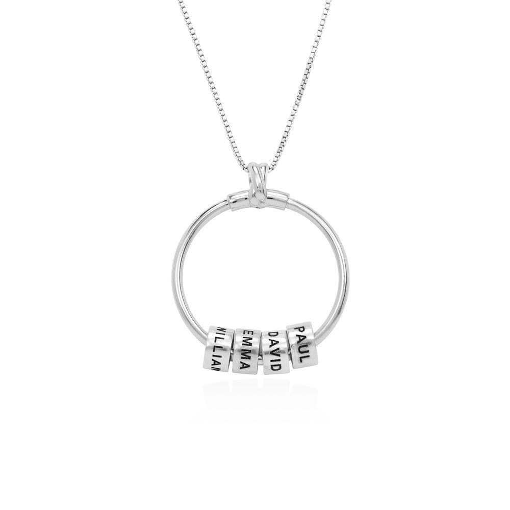 Gegraveerde Cirkel Hanger Linda ™ Ketting met blad en persoonlijke kralen in Sterling Zilver - 2