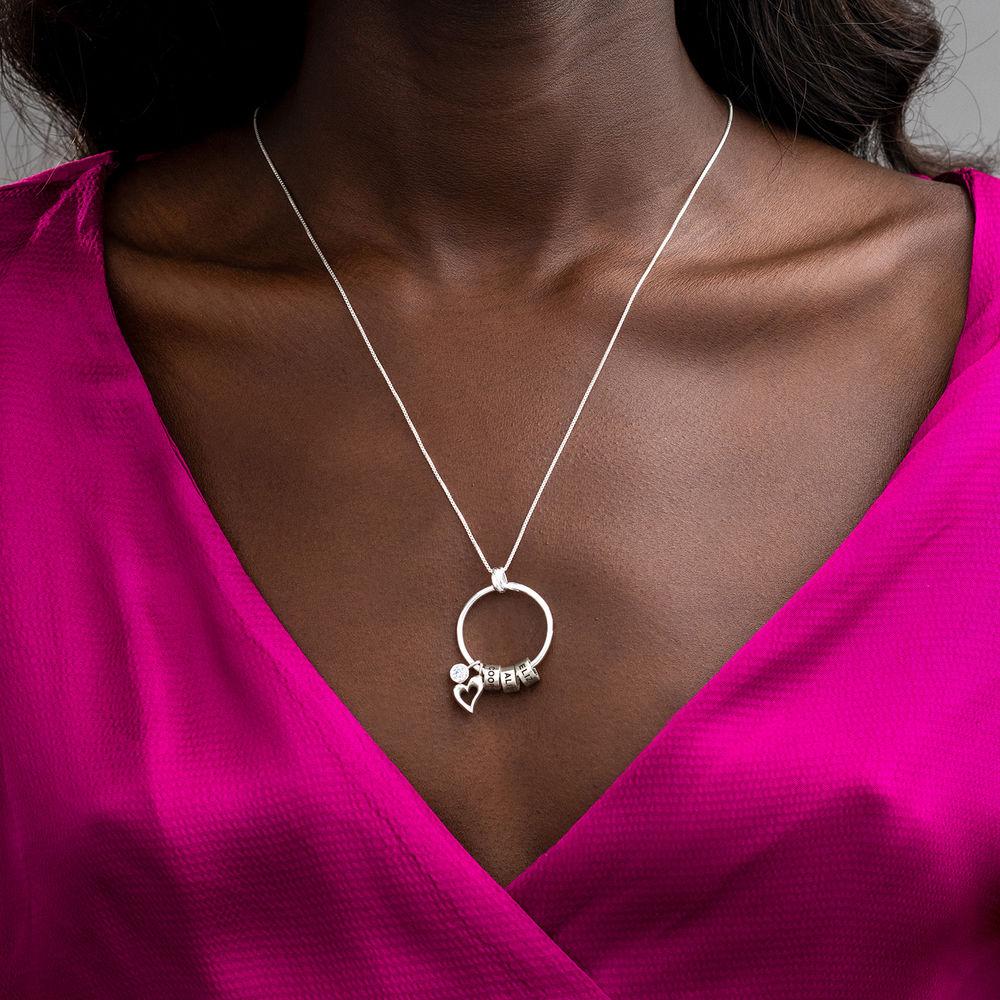 Gegraveerde Cirkel Hanger Linda ™ Ketting met blad en persoonlijke kralen in Sterling Zilver - 8