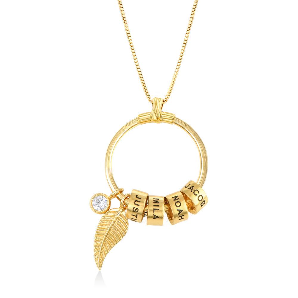 Gegraveerde Cirkel Hanger Linda ™ Ketting met blad en persoonlijke kralen in 18K Goud Verguld - 1