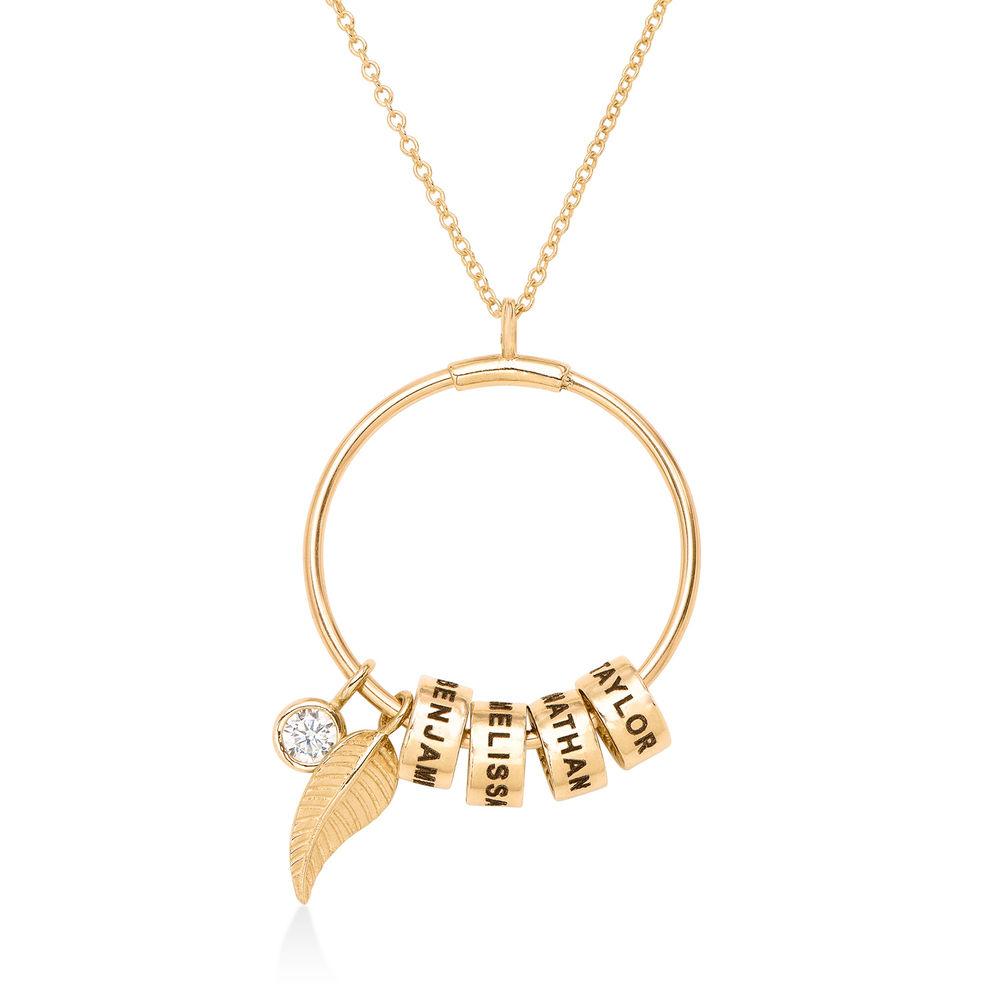Gegraveerde Cirkel Hanger Linda ™ Ketting met blad en persoonlijke kralen in 10k Goud