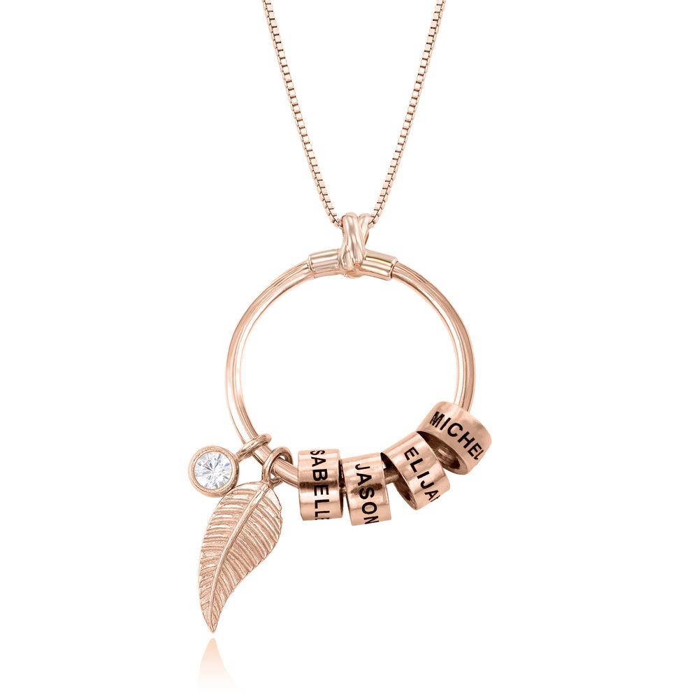 Gegraveerde Cirkel Hanger Linda ™ Ketting met blad en persoonlijke kralen in 18K Rosé Goud Verguld - 1