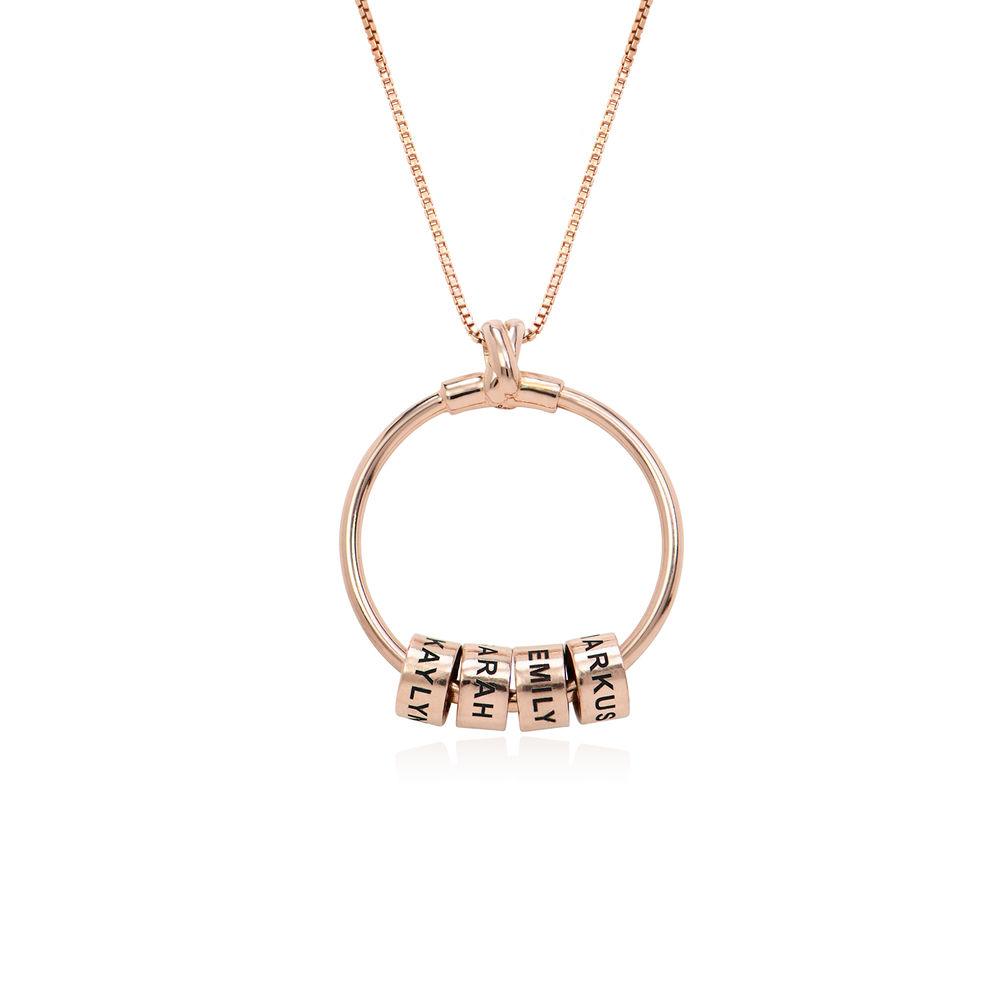 Gegraveerde Cirkel Hanger Linda ™ Ketting met blad en persoonlijke kralen in 18K Rosé Goud Verguld - 2