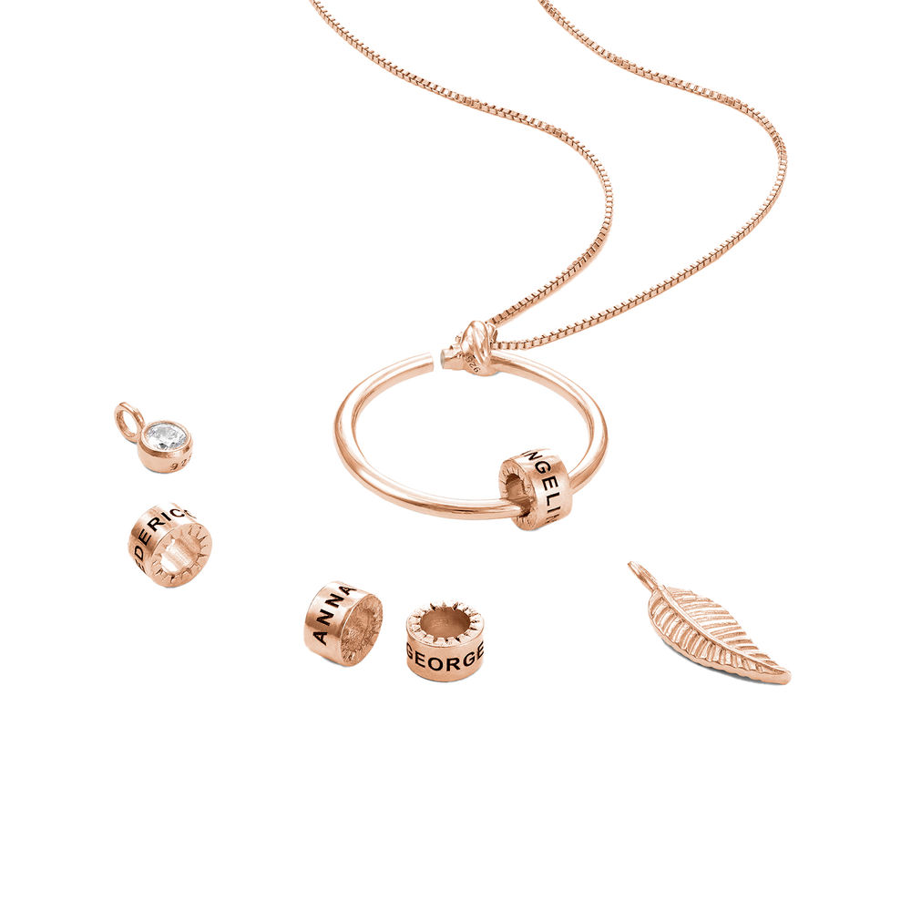 Gegraveerde Cirkel Hanger Linda ™ Ketting met blad en persoonlijke kralen in 18K Rosé Goud Verguld - 3