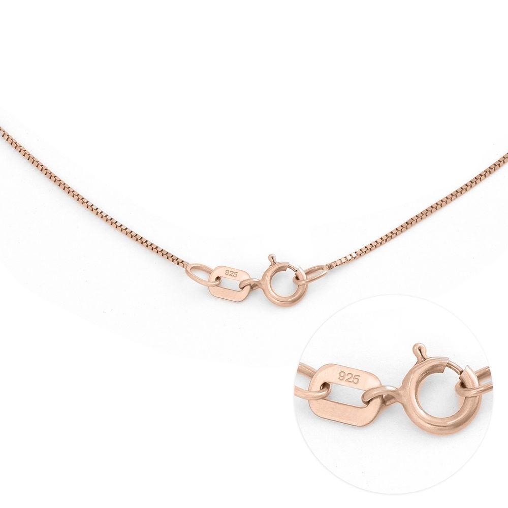 Gegraveerde Cirkel Hanger Linda ™ Ketting met blad en persoonlijke kralen in 18K Rosé Goud Verguld - 7