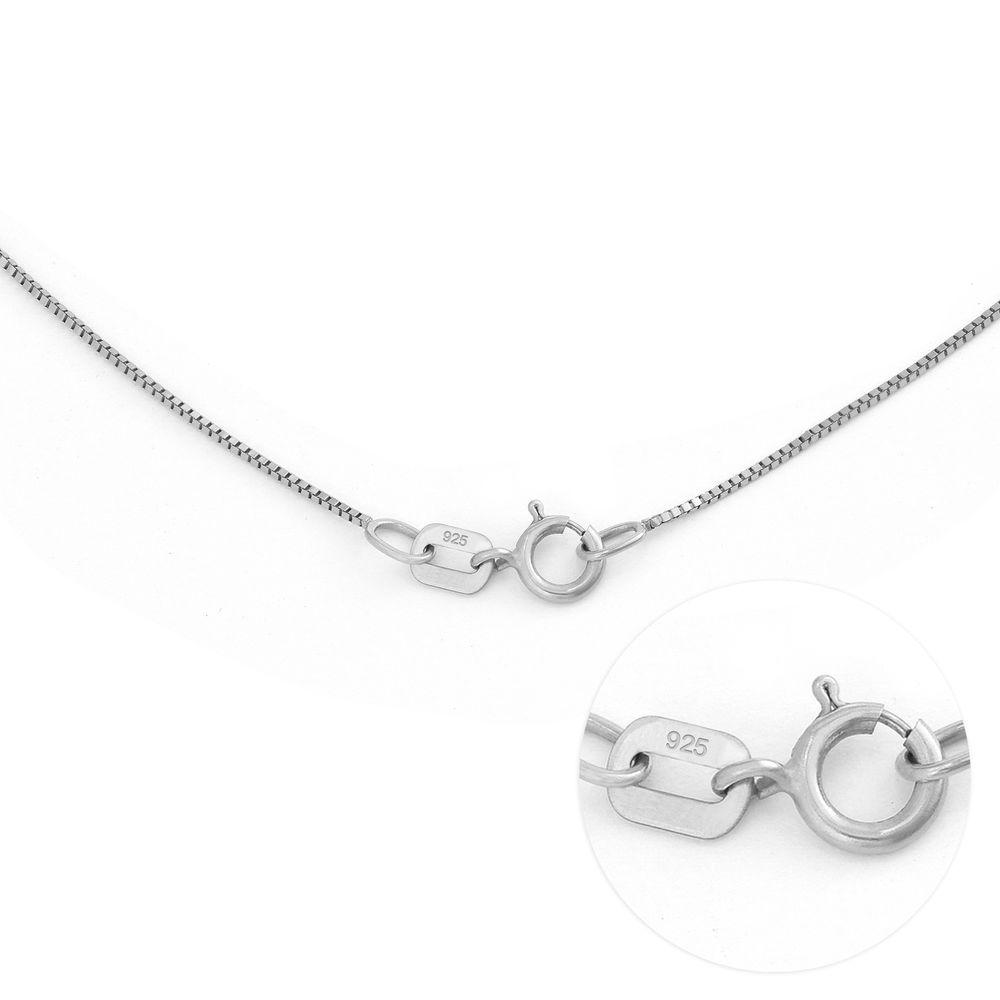 Gegraveerde Cirkel Hanger Linda ™ Ketting met blad en persoonlijke kralen in Sterling Zilver met diamanten - 6