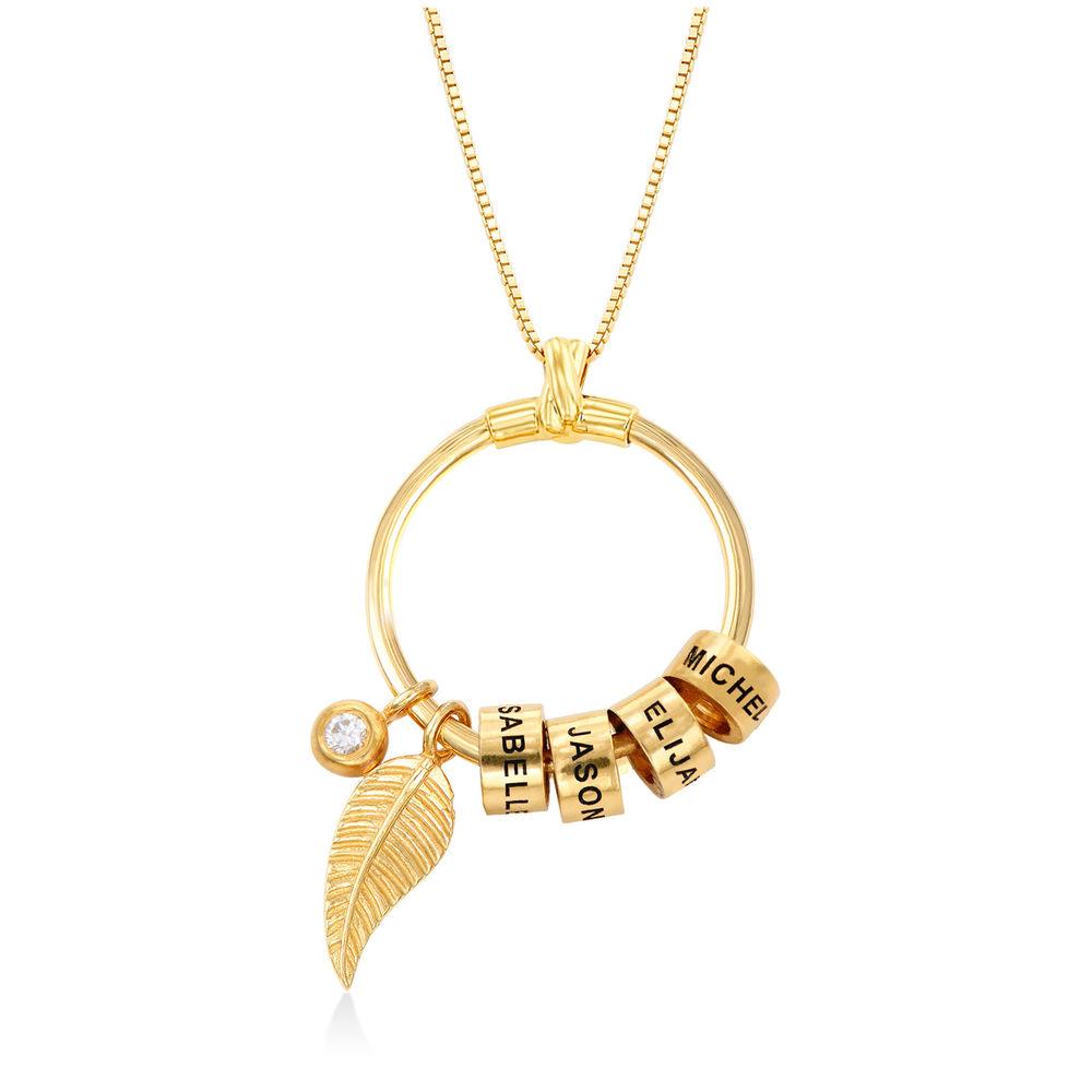 Gegraveerde Cirkel Hanger Linda ™ Ketting met blad en persoonlijke kralen in 18K Goud Verguld met diamanten