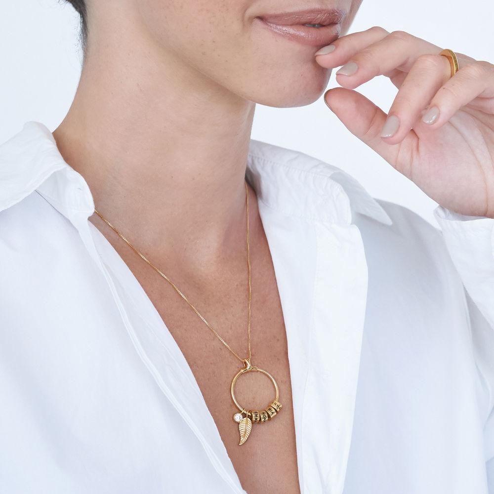 Gegraveerde Cirkel Hanger Linda ™ Ketting met blad en persoonlijke kralen in 18K Goud Verguld met diamanten - 4