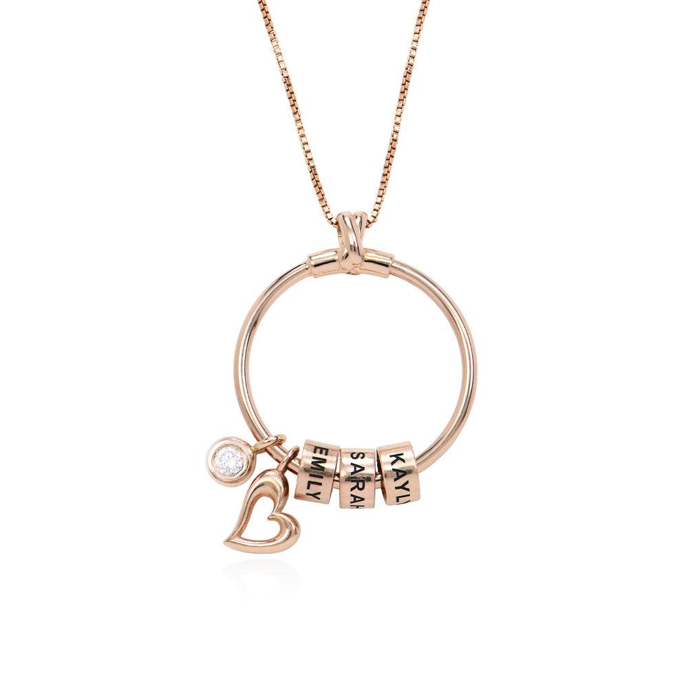 Gegraveerde Cirkel Hanger Linda ™ Ketting met blad en persoonlijke kralen in 18K Rosé Goud Verguld met diamanten - 1