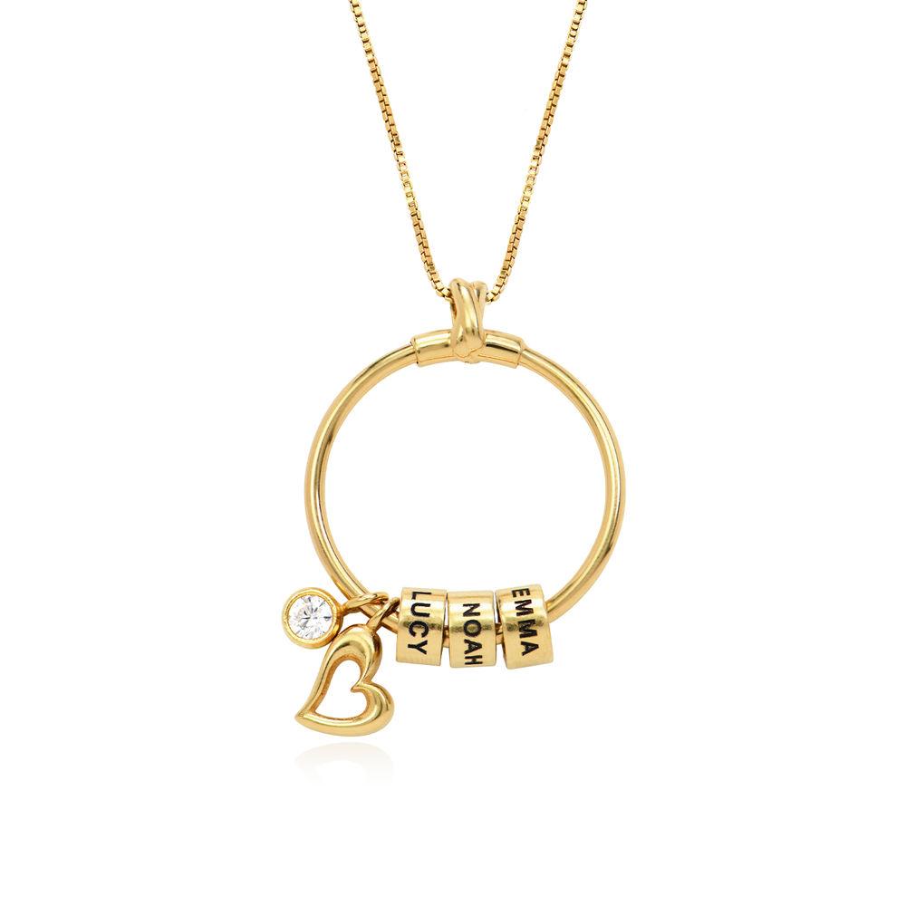 Gegraveerde Cirkel Hanger Linda ™ Ketting met blad en persoonlijke kralen in 18K Goud Vermeil