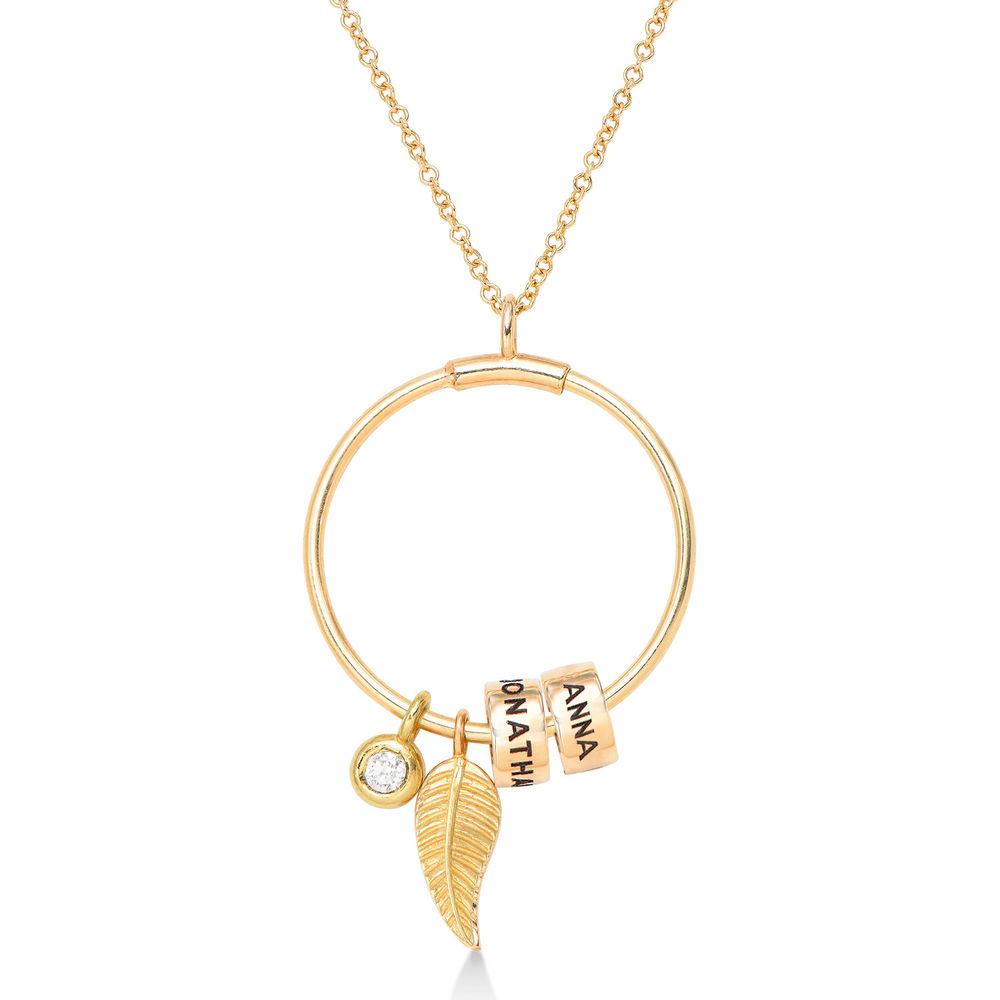 Gegraveerde Cirkel Hanger Linda ™ Ketting met blad en persoonlijke kralen met Diamant  in 10k Goud