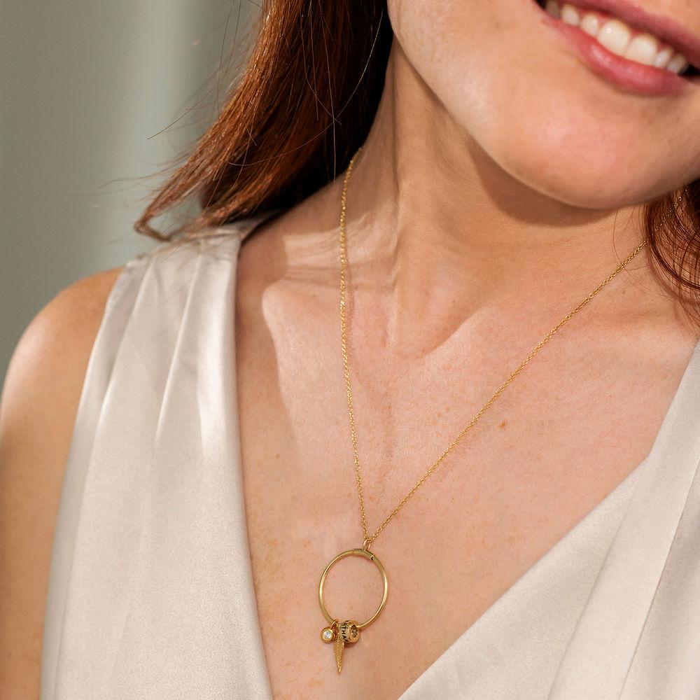 Gegraveerde Cirkel Hanger Linda ™ Ketting met blad en persoonlijke kralen met Diamant  in 10k Goud - 3