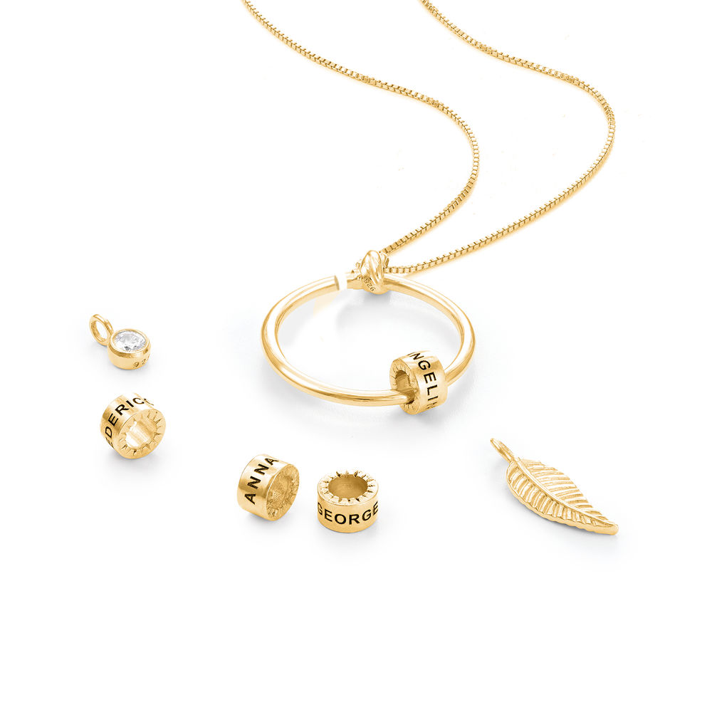 Gegraveerde Cirkel Hanger Linda ™ Ketting met blad en persoonlijke kralen in 18K Goud Vermeil met diamanten - 2