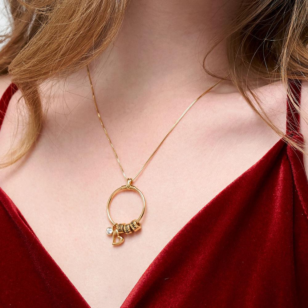 Gegraveerde Cirkel Hanger Linda ™ Ketting met blad en persoonlijke kralen in 18K Goud Vermeil met diamanten - 4