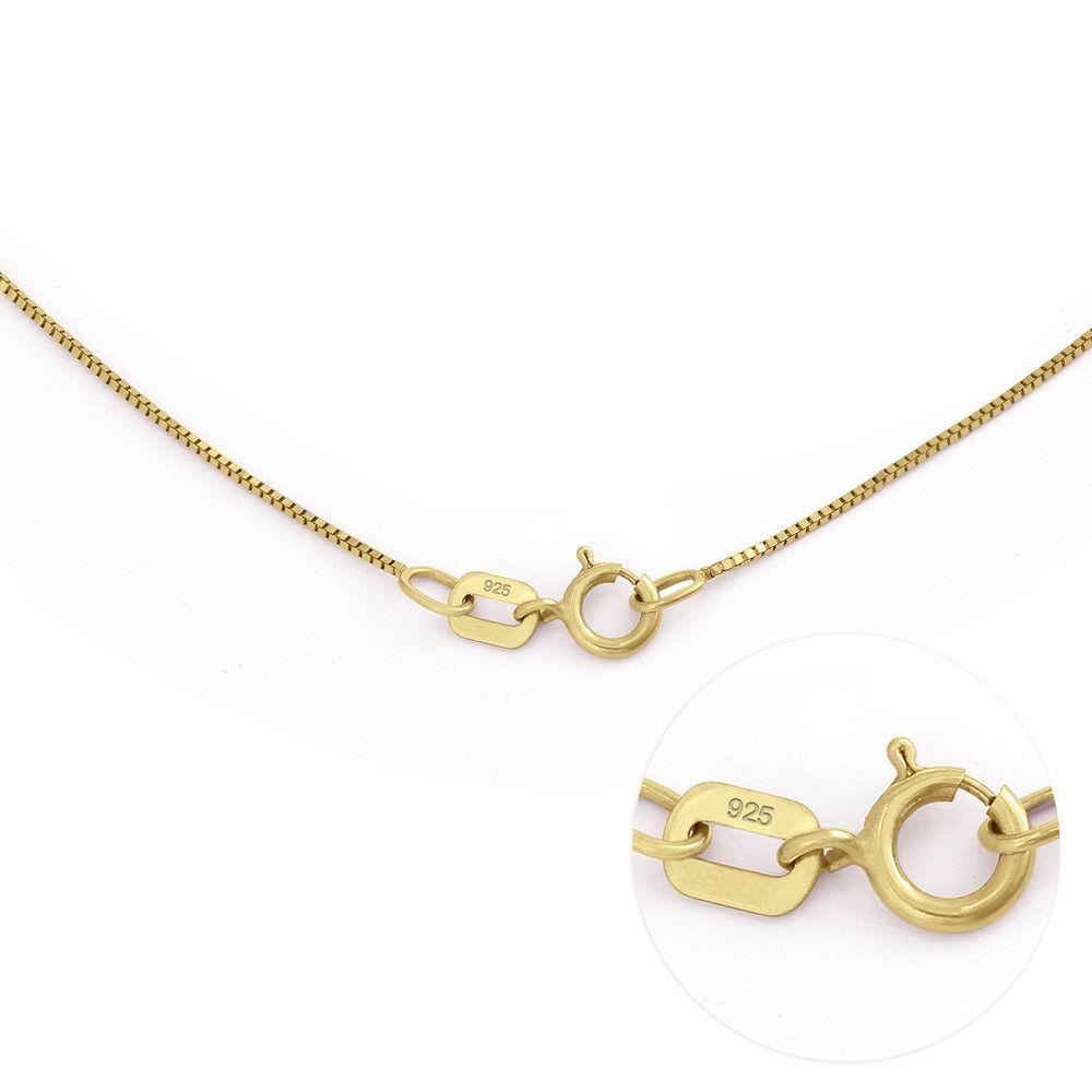 Gegraveerde Cirkel Hanger Linda ™ Ketting met blad en persoonlijke kralen in 18K Goud Vermeil met diamanten - 6