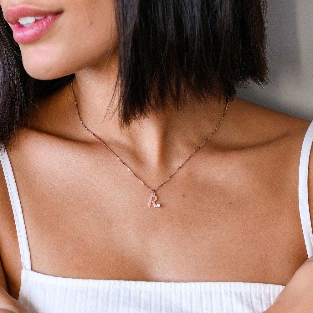 Initiaal Ketting met Diamanten in 18k Rosé Goud Verguld Sterling Zilver - 1