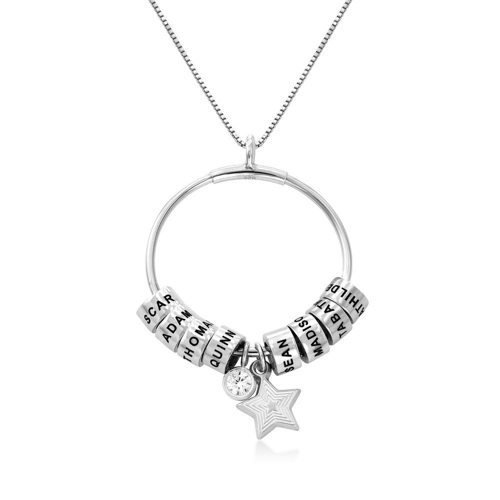Grote Gegraveerde Cirkel Hanger Linda ™ Ketting met Gepersonaliseerde Kralen en Diamant in Sterling Zilver
