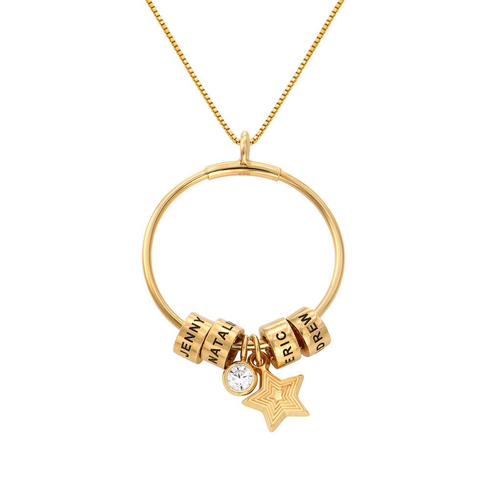 Grote Gegraveerde Cirkel Hanger Linda ™ Ketting met Gepersonaliseerde Kralen en Diamant in 18K Goud Vermeil - 1