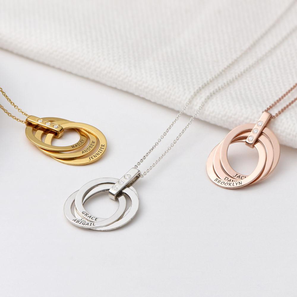 Russische Ring Ketting met Diamanten in Sterling Zilver - 2