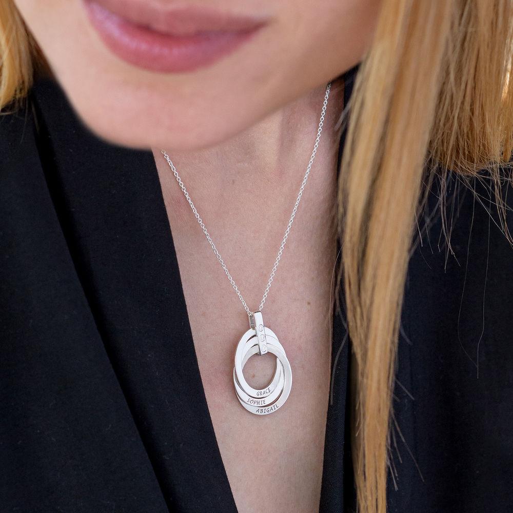 Russische Ring Ketting met Diamanten in Sterling Zilver - 4