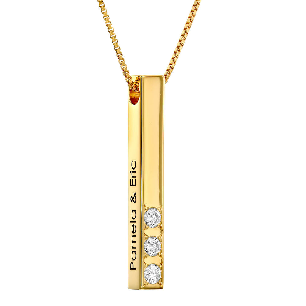 3D Gegraveerde Bar-Ketting met Gold plating en Labdiamanten