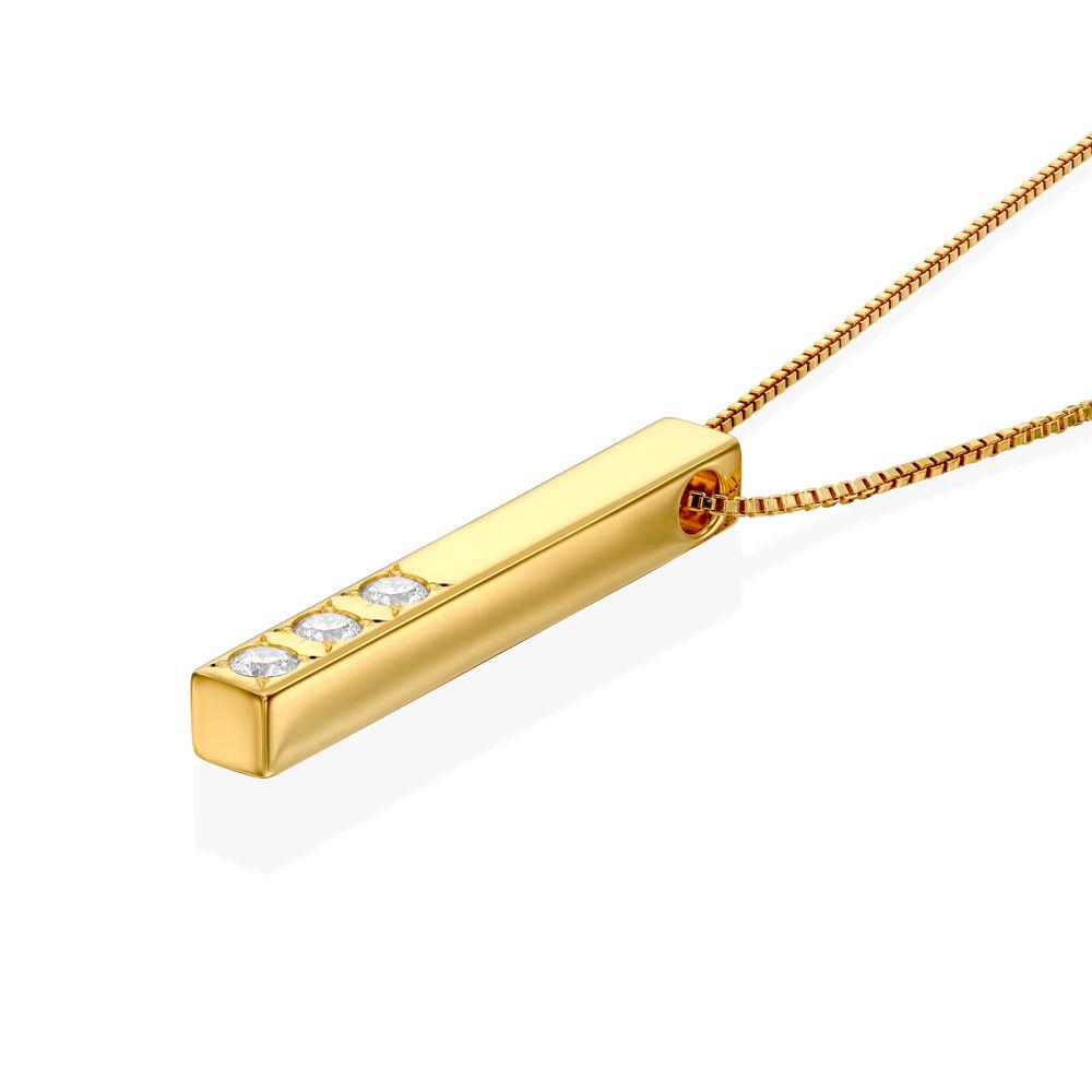 3D Gegraveerde Bar-Ketting met Gold plating en Labdiamanten - 1