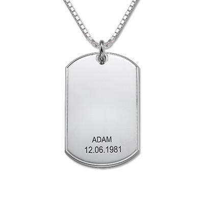 "Zilveren (0.925) Gepersonaliseerde ""Dog Tag"" Ketting"